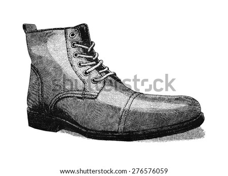 Vintage styled digital illustration of a men's leather shoe. - stock photo