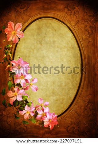 vintage styled frame with floral decoration - background for your text - stock photo