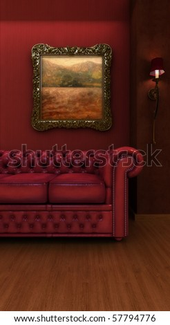 Vintage styled hotel room. - stock photo