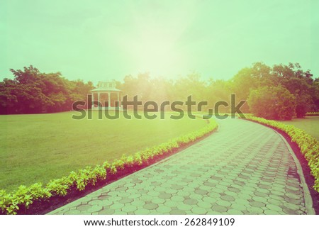 Vintage styled image of the path towards the light in public park . A concepts of new life, hope, way to heaven. - stock photo