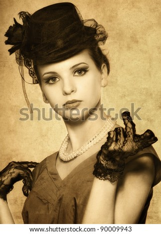 Vintage styled portrait of a beautiful woman - stock photo