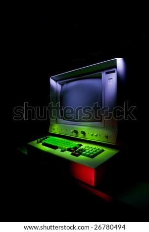 Vintage stylized computer - stock photo