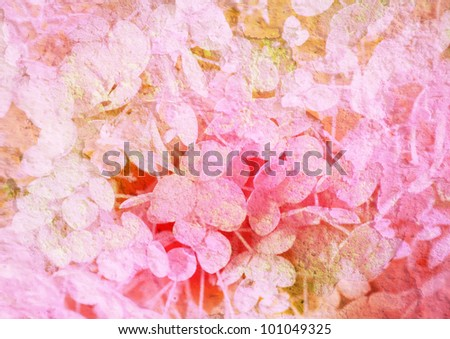 vintage stylized floral picture with patina texture - stock photo