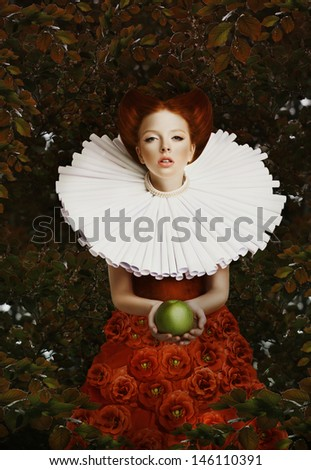 Vintage. Stylized Red Hair Woman in Retro Jabot with Green Apple - stock photo
