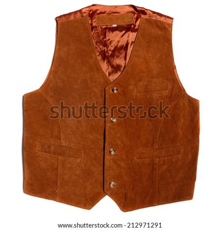 vintage suede leather waistcoat on white background - stock photo