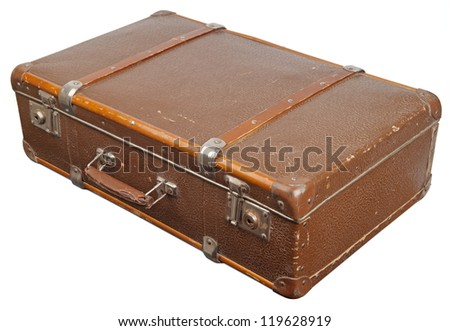 Vintage suitcase. Clipping path included. - stock photo
