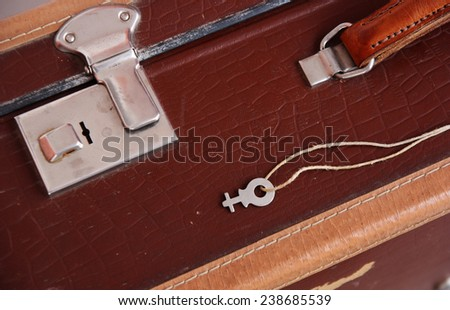 Vintage  suitcase close up - stock photo
