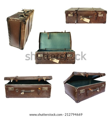 Vintage suitcase collage on white.  Open, closed, front and side views. - stock photo