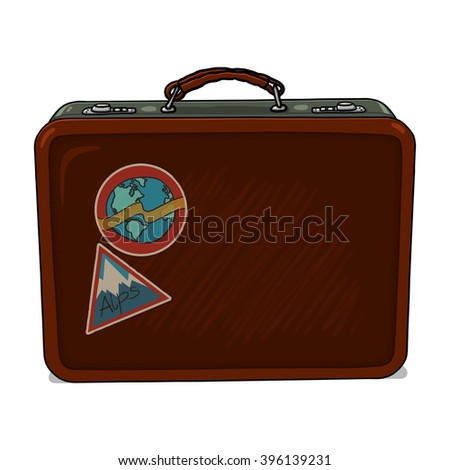 Vintage suitcase illustration - stock photo