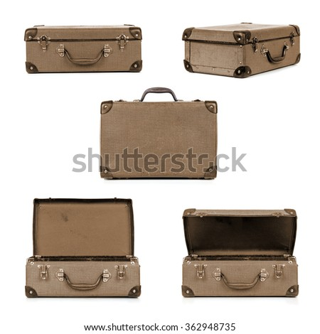 Vintage suitcase in different views, isolated on white.  Sepia tone. - stock photo