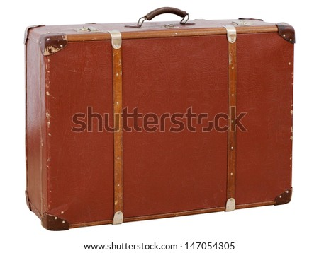 Vintage suitcase isolated on white background - stock photo