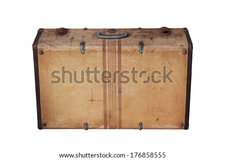 Vintage Suitcase Isolated on White (Clipping Path). - stock photo