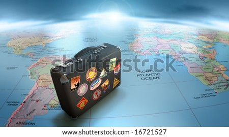 Vintage suitcase on world map - stock photo