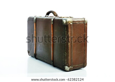 Vintage Suitcase over a white background - stock photo