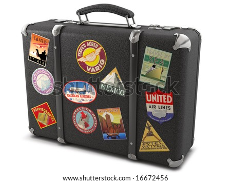 Vintage suitcase with stickers - stock photo