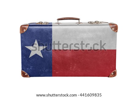 Vintage suitcase with Texas flag - stock photo