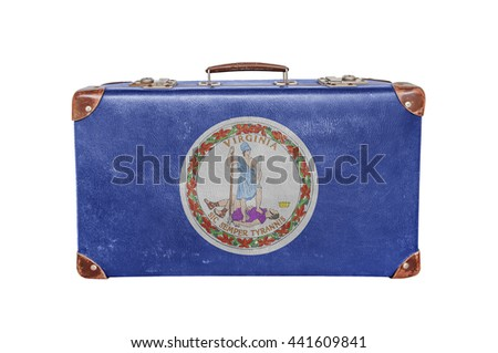 Vintage suitcase with Virginia flag - stock photo