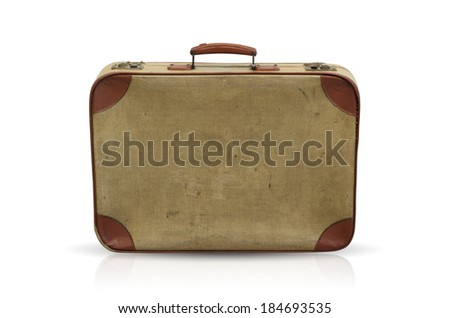 Vintage suitcases stacked isolated on white background with clipping path. - stock photo