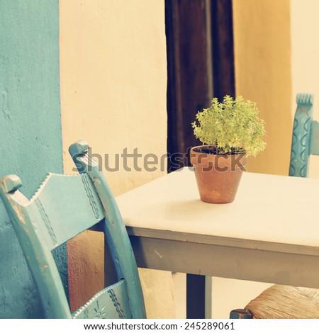 Vintage summer coffee shop in Greece Crete, Chania - stock photo