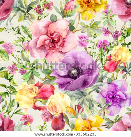 Vintage summer flowers, leaves and herbs. Repeating floral background. Watercolor - stock photo