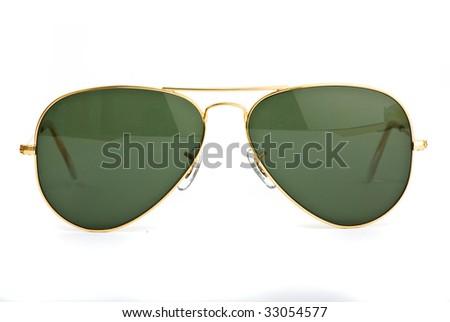 vintage sunglasses on white background - stock photo