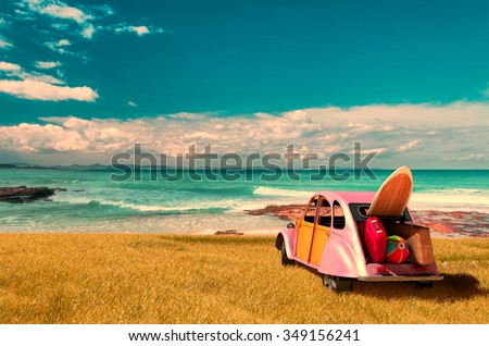vintage sunny day and holidays car in formentera beach, spain - stock photo
