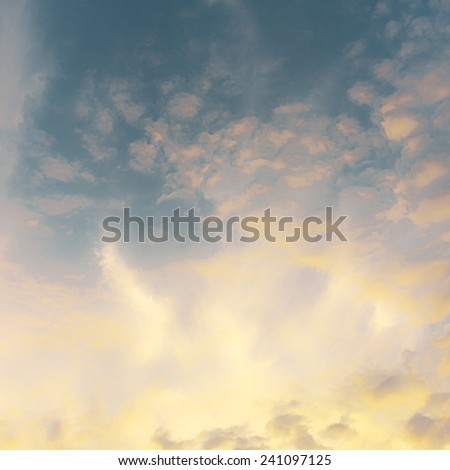 Vintage sunset sky with clouds - stock photo