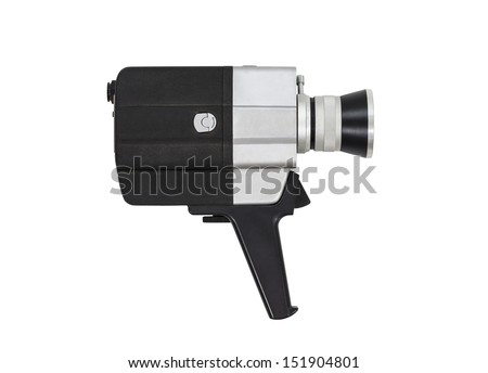 Vintage super 8 film camera with all text and markings removed, isolated with clipping path.   - stock photo