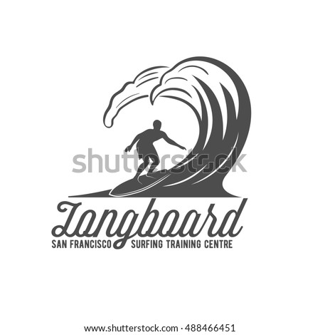 vintage surfing logotype badge emblems surfer stock illustration
