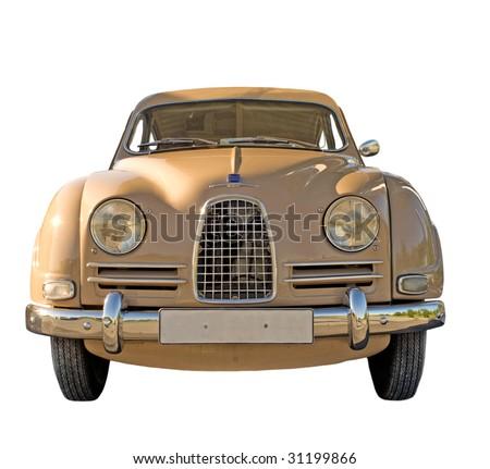 Vintage Swedish car isolated on white - stock photo