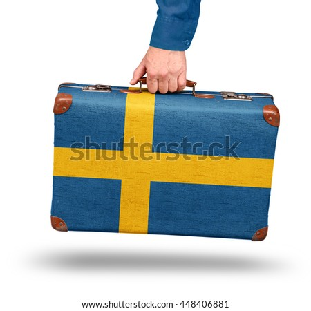 Vintage Swedish flag suitcase isolated on white visit Sweden concept - stock photo