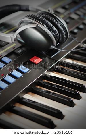 Vintage Synthesizer Keyboard - stock photo