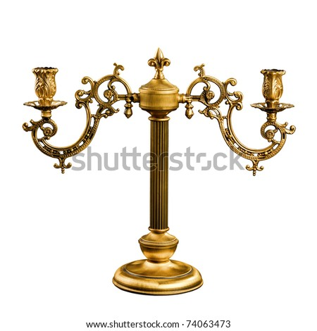 vintage table Candlestick isolated on white - stock photo