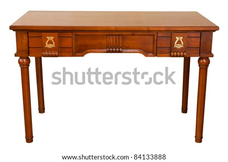 vintage table isolated on white with path - stock photo