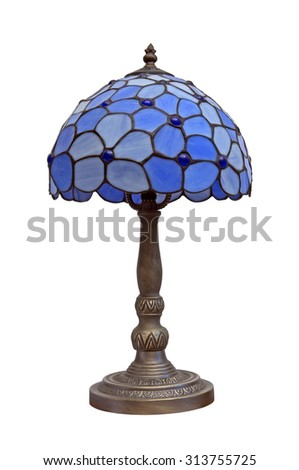 Vintage table lamp isolated on white - stock photo