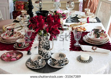 Vintage Tabletop Decor With Old Style Tableware