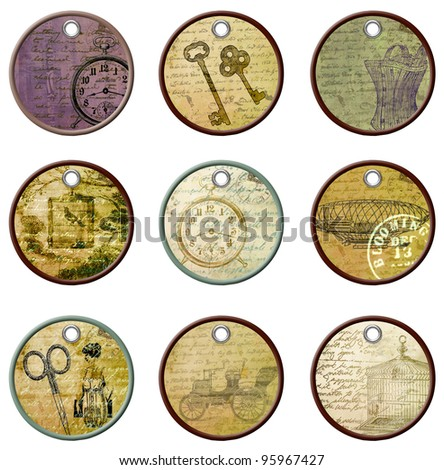Vintage Tags for Scrap booking - stock photo