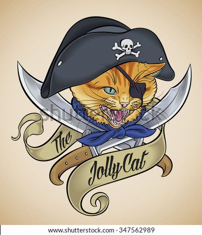 Vintage tattoo design of a cat's head, which wears a pirate hat, crossed with two blades and wrapped with a banner. Raster image. - stock photo