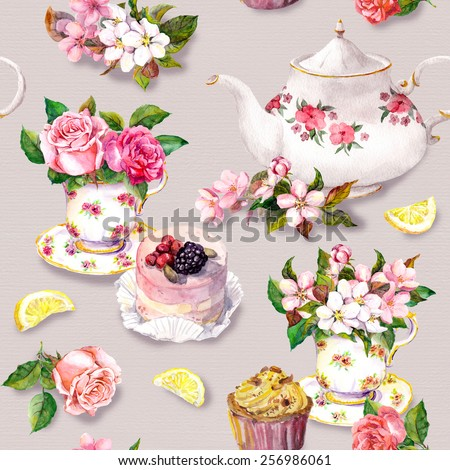 Vintage tea pattern with flowers in tea cup, cake and tea pot. Floral watercolor. Seamless background - stock photo