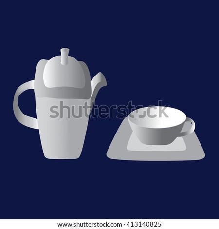 Vintage tea set. Happy tea drinking - stock photo
