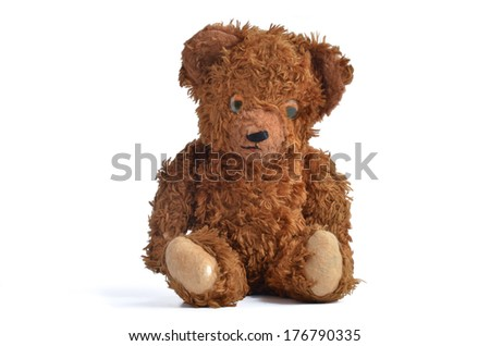 Vintage Teddy Bear Isolated on white background. - stock photo