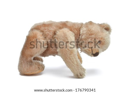Vintage Teddy Bear Isolated on white background.