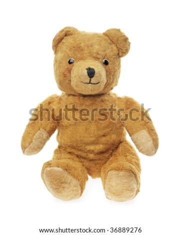 Vintage teddybear toy isolated on white - stock photo