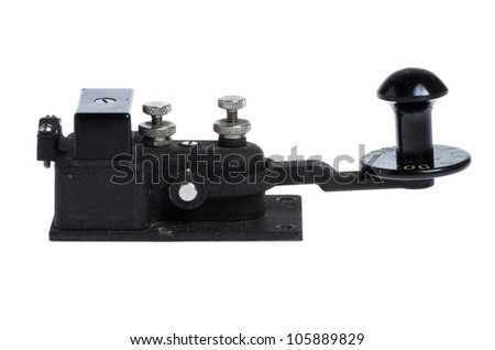 Vintage telegraph key or switch isolated on white