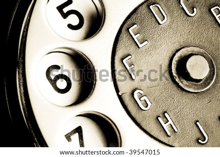 vintage telephone detail - stock photo
