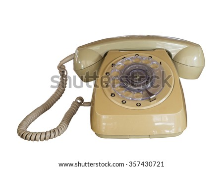 Vintage telephone isolate on white - old fashion. retro style