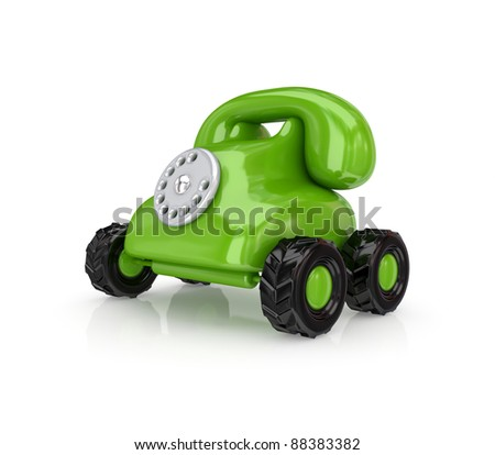 Vintage telephone on a wheels.Isolated on white background.3d rendered. - stock photo