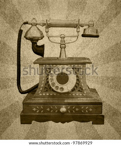 Vintage Telephone on grunge paper  with abstract sun rays - stock photo