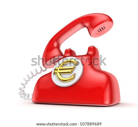 Vintage telephone with golden euro sign.Isolated on white.3d rendered. - stock photo