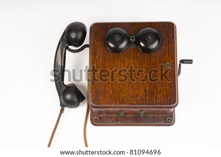 Vintage Telephone Wood Antique Communication Device Ring Box Handset - stock photo